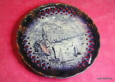 "Empire Works (Stoke on Trent) 9 3/8"" DEEP PIERCED PLATE Crazed Flow Blue"