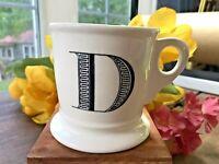 Anthropologie Monogram Letter 'D' Mug Alphabet Initial Shaving Style Cup-Retired