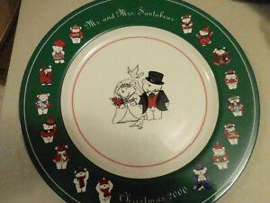 "Mr & Mrs Santa Bear Wedding Charger Plate 12"" Christmas 2000"