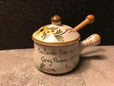 Senf-Töpfchen mit Griff und Holzlöffel, handbemalt