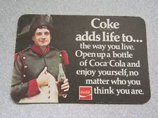 "Coca Cola Beer Mat ""Coke Adds Life To The Way You Live"" c1970's"