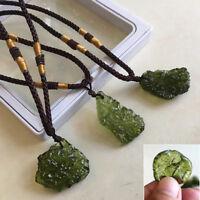 US Natural Green Gem Moldavite Meteorite Impact Glass Czech Necklace Pendant