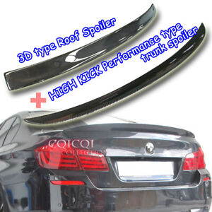 Carbon BMW F10 5-series Sedan 3D type roof + Performance type trunk spoiler M5◎