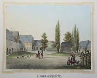 Lithografie Nieder-Zwoenitz Poenicke Schlösser & Rittergüter Sachsen um 1855 xz