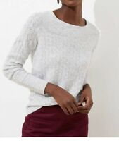 LOOK! NWT Ann Taylor LOFT Ribbed Yoke Cable Sweater - Gray - Super Soft -Size XL