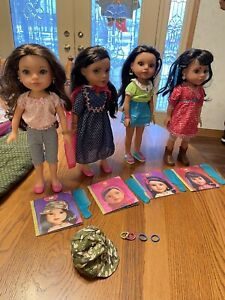 "14"" hearts 4 Playmates Toys lot dolls in outfits Shola Dell Mosi Consulel books"