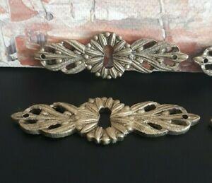 4 Vintage Solid Bronze Keyhole Covers Escutcheons #1