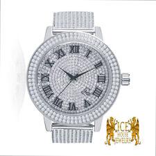 Roman Mens Ice House Real Diamond White Gold 2 Row Custom Steel Watch Band Bezel