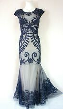 PHASE EIGHT 'Perseus' Navy Blue Nude Mesh Beaded Wedding Evening Dress Size 10