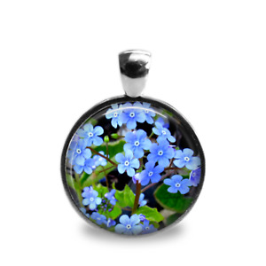 Silver Plated Forget Me Not Flower Art Cabochon Pendant