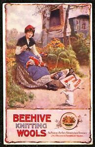 1905 LADY SEWING MR PUNCH & JUDY TOY BEEHIVE KNITTING WOOLS ADVERTISING POSTCARD