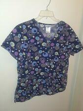 Sb Scrubs Top Shirt Small Navy Blue White Purple Circle Loop V Neck 3 Pockets