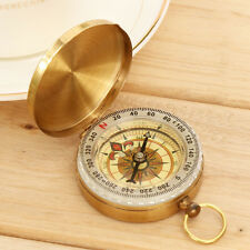 Brass Mini Pocket Watch Style Outdoor Camping Hiking Compass Navigation Keychain