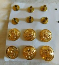 Usmc Officer's Equipment Set of 6 Insignia Metal Gold Screw Post 24K Gp Buttons