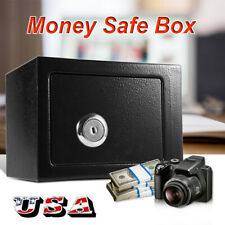 Strong Iron Steel Key Operated Security Money Cash Safe Box For Home Office New