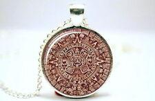 Mayan-Azteck Calendar - Silver Tone Photo Glass Dome Necklace Pendant Gift
