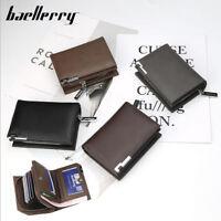 Men's Leather High Capacity Wallet Credit Card Zipper Checkbook Holder Purse