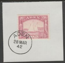 909520 ADEN 1937 DHOW  8a  on piece with  MADAME JOSEPH FORGED POSTMARK