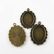 14pcs/lot Retro Bronze Cameo Setting Oval Lace Look Alloy Jewelry Craft Pendants