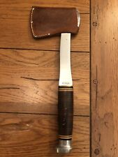 "Old KABAR 12"" Hatchet Camp Axe ORIGINAL SHEATH Finger Groove Handle"