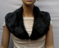 Fashion Faux Fur Collar Pre Cut and Fully Lined Black #t593 -