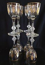 8 Vintage GOLD ENCRUSTED TIFFIN PALAIS VERSAILLES Cut Crystal WINE Glasses