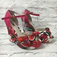 NEW Next Floral Wedges Sandals Red Pink Wedding Summer Party Holiday Bow Size 8