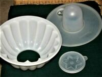 Vintage Tupperware Tupper Seal Jel-N- Serve Mold Core Flower Seal 4 Pc Clear Set