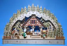 LED Schwibbogen 3D mit 3 Figuren Weihnachts Bäckerei 43 x 30 cm Backstube NEU