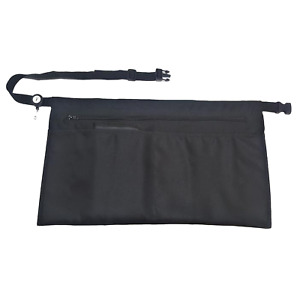 CLIP-ON Black Apron - 5 Pockets with Zipper - Half Apron with adjustable strap