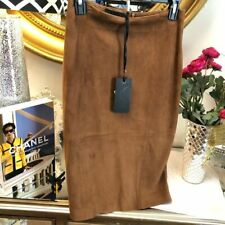 Les Copains Tabacco Leather Pencil Skirt 6