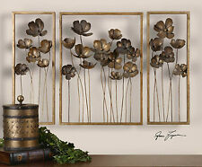 "NEW LARGE 40"" FORGED GOLD LEAF METAL TULIP FLOWER MODERN WALL ART SCULPTURES"