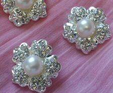 10 Ivory Pearl Silver Metal Buttons with Clear Rhinestone 21 mm Bridal Buttons