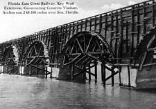 Old Photo.  Key West, Florida.  Railway Extension Constructing Concrete Viaduct