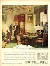 1947 White Horse PRINT AD Scotch Whisky Men's Club Beautiful ART