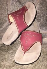 Womens Size 5.5 M Rockport Red Embroidered Suede Leather Thong Sandals WORN 1X