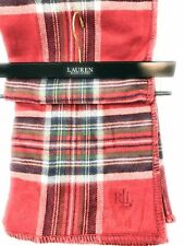 Ralph Lauren Tartan Plaid Throw Blanket Red, Green, White and Black Nwt