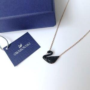 Swarovski * Iconic Swan Pendant Black Pave 38cm Rose Gold Chain Necklace