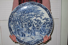 "Huge (18"") Antique Chinese Blue & White Plate / Charger -Marked - Museum Quality"