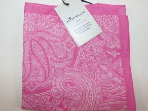 NWT $68 PETER MILLAR Men's Pink BANDANA PRINT 100% Linen Pocket Square Italy