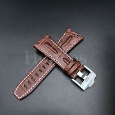 28MM Alligator Leather Watch Strap Fits For Audemars Piguet Brown White Band 42