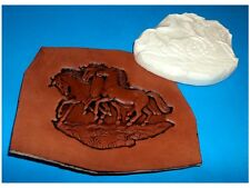 """THREE HORSES  Leather Emboss Plate 5"""" x 4"""""""