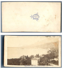 France, Menton Vue prise du pont Saint-Louis CDV vintage albumen carte de visite