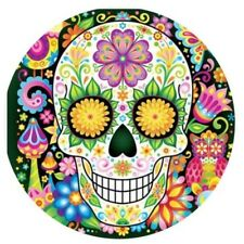 "SUGAR SKULL Edible Icing Cake Topper 7.5"" ROUND Day of the Dead"