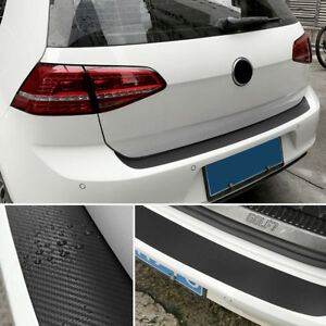 4D Carbon Fiber Black Car Auto Rear Bumper Trunk Tail Lip Protect Decal Sticker