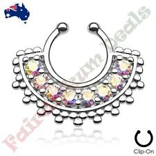 Septum Hanger with Aurora Borealis Gems Large Silver Ion Plated Fan Non Piercing