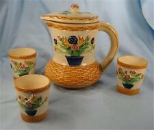 ​Japan Art Pottery Pitcher & 3 Cups Flower Vase Pattern Vintage Pretty AS IS (O)