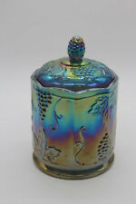 Iridescent Carnival Glass Candy Jar - #2224 - With Original Box - Grape Harvest
