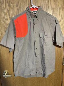 Bob Allen Button Up Short Sleeve Shooting Patch Shirt Blaze Orange Size Medium