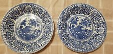 2 Antique Chinese blue & white porcelain Wall chargers dishes plates Marked  9""